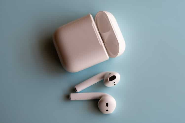 A pair of wireless earbuds.
